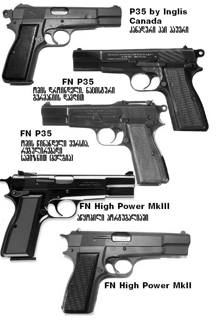 various pistols